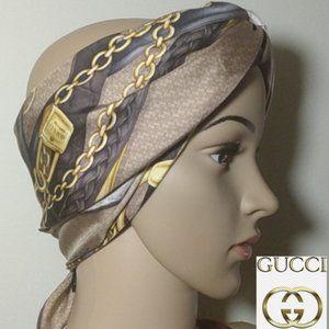 🛡Like New, Gucci Rare Horsebit Italian Silk Scarf
